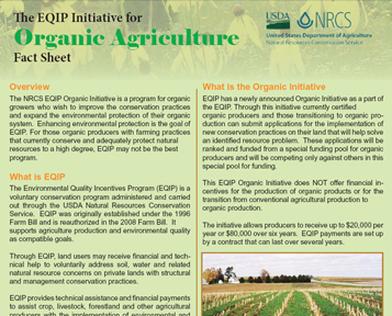 NRCS EQIP Organic Initiative Factsheet