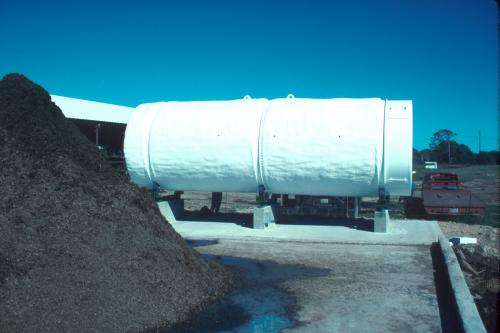 this farm-scale rotating drum is used at a Texas site